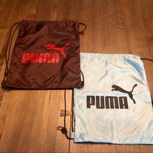 2 Puma Draw String Bags, Blue and Burgundy